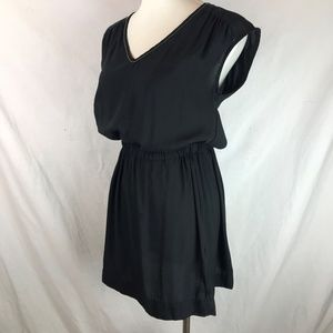 H&M Black Bronze Bead V Neck Blouse Mini Dress